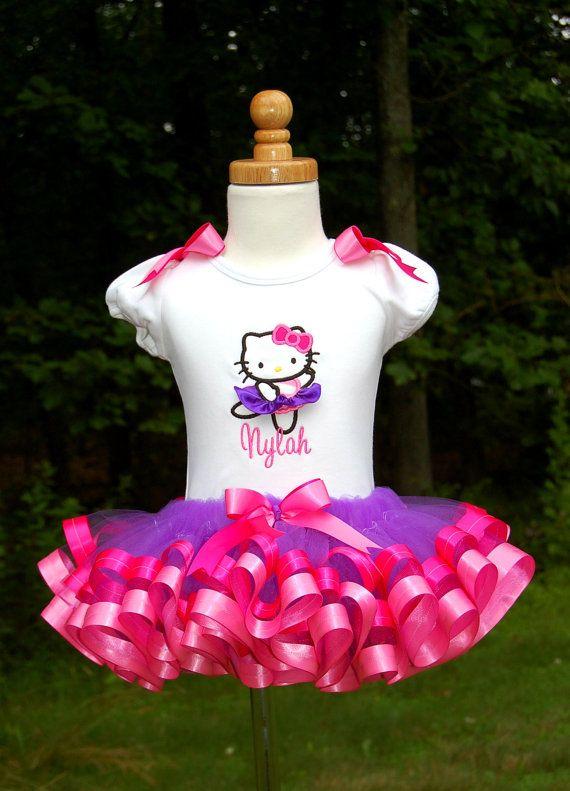 Hello Kitty Ribbon Trim Tutu Set  Includes by lilabbehandmade, $62.99
