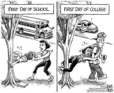 School excitement and dread. Funny.