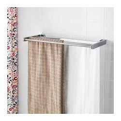 KALKGRUND Wall shelf with towel rail, chrome plated - chrome plated - IKEA