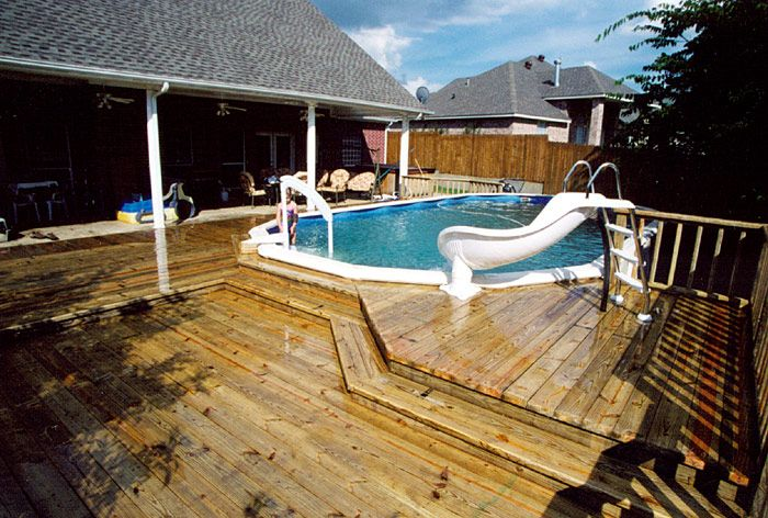 Mobile home back porches with above ground pool deck for Above ground pool decks off house
