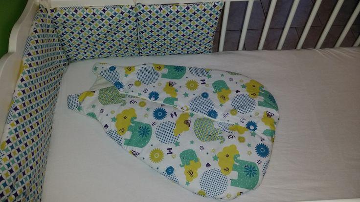 Tour de lit et gigoteuse 0/6 mois thème diamants, éléphants,étoiles : Linge de lit enfants par o-crea-de-lina