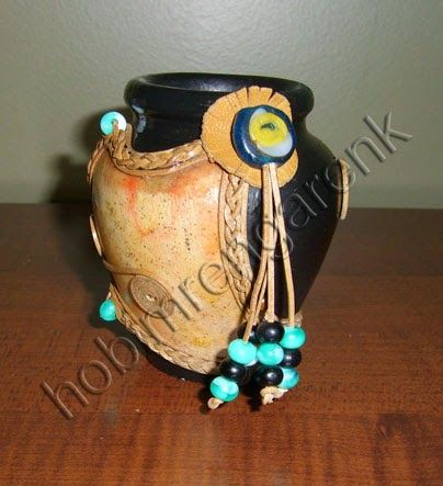 Mini Çömlek-leather-covered pot