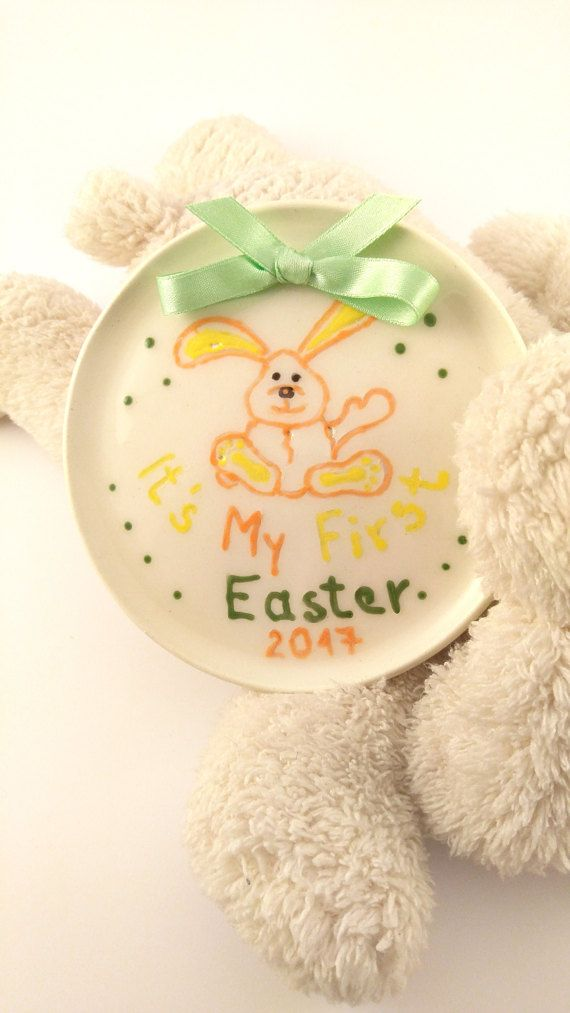 MY FIRST EASTER Ceramic Plate Hanging Plate by KeramosPottery