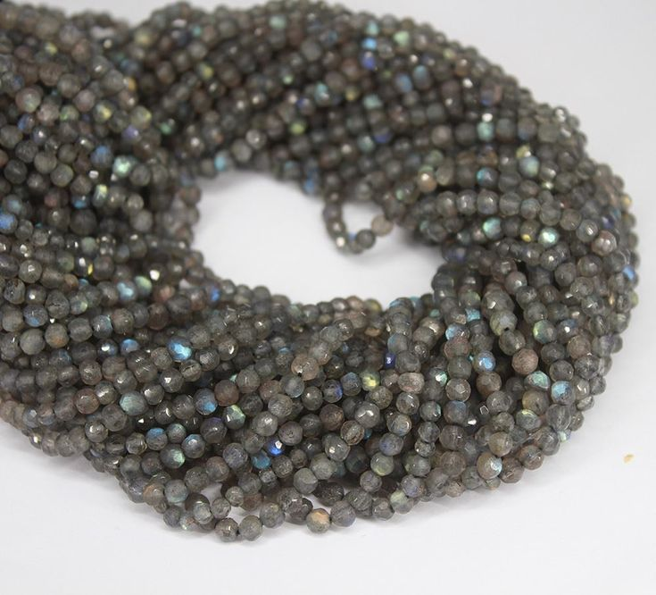 Blue Fire Flash Labradorite Faceted Round Gem Beads Strand - 3.5mm - 13 Inches