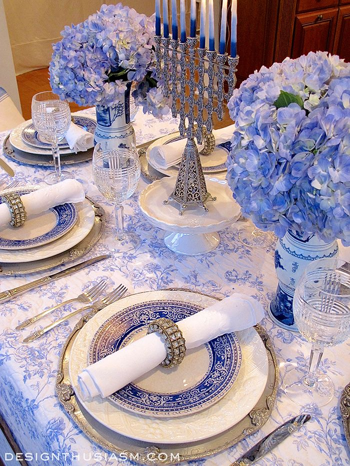 French Blue And White Holiday Table Setting With Toile