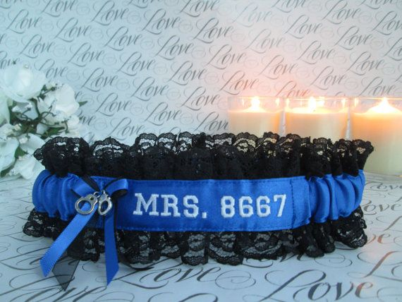 Custom Police Wedding Garter  Police Wedding by CreativeGarters