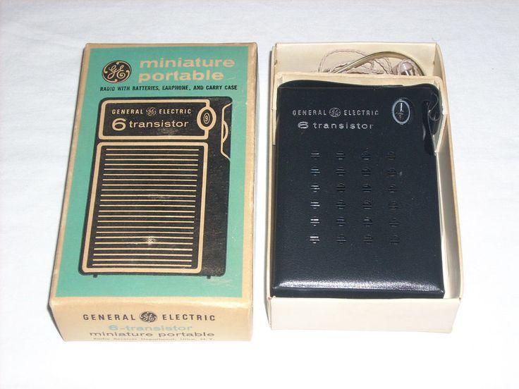 Vintage GENERAL ELECTRIC 6-TRANSISTOR MINIATURE PORTABLE RADIO Earphones WORKING #GE