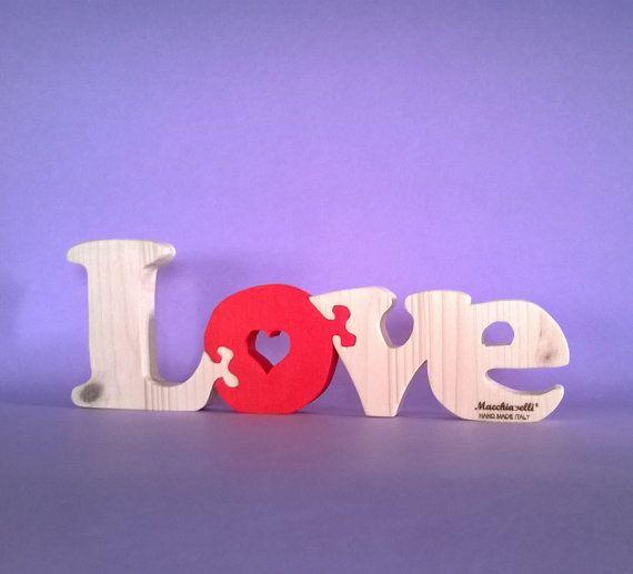 Cuore in legno scritta love puzzle in legno puzzle cuore innamorati san valentino regalo coppia innamorati (Cod. PUZ010)