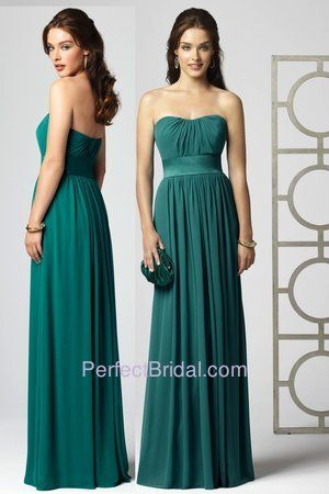 Dessy Bridesmaid Dress 2860 | Dessy bridesmaid style 2860. Strapless full length lux chiffon dress with...