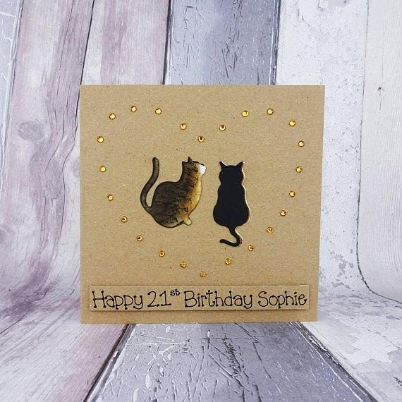 Custom handmade cat birthday card with two cats inside gems in the shape of a heart. You can choose the silhouette of any two cats in my collection (listed in my Etsy store), the colour of the cat and the gems. Please add all these details in the Note to Seller section at checkout. You
