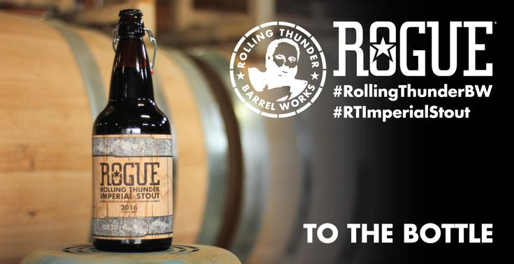 Brewed with ingredients grown at Rogue Farms and then ocean aged in barrels made by hand at Rolling Thunder Barrel Works that are primed with Dead Guy Whiskey, Rolling Thunder Imperial Stout is the end of a long journey from ground to glass and barrel to bottle.