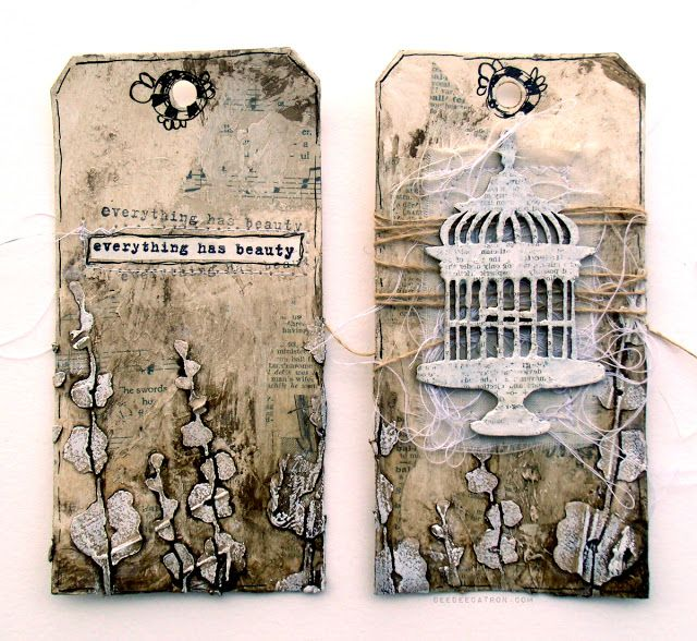 by DeeDee Catron: Everything has beauty Mixed Media Tag Duo using Donna Downey Stencils & stamps, UmWowStudio chipboard, Golden, Liquitex and more