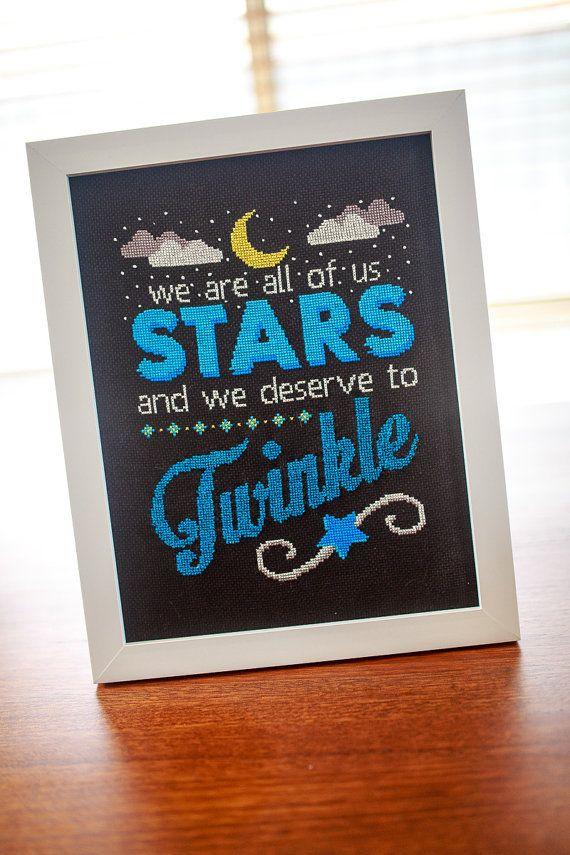 Inspirational Typography Cross Stitch Pattern. Marilyn Monroe Twinkle Stars quote. Digital PDF pattern. Price $9.50 AUD.