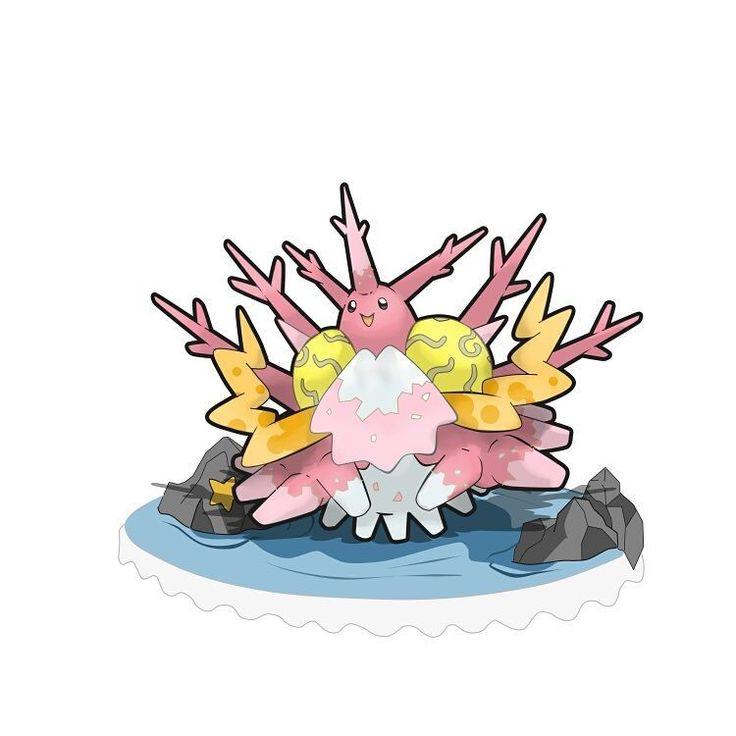"""Conozcan a...COROSAL de tipo Agua/Roca... Corosal es la evolución de Corsola al ser intercambiado equipado con un nuevo objeto llamado """"Botellita de Coral"""". Se vuelven pokémon grandes pero muy amables. Al evolucionar parte de su cuerpo se cubre por corales de distintos tipos y lo hacen un hábitat para algunos pokémon marinos pequeños. Suelen quedarse en un solo lugar, una vez que les guste el sitio, extiende su coral  y entra en un sueño profundo donde sólo despierta si algunos Mareanie…"""