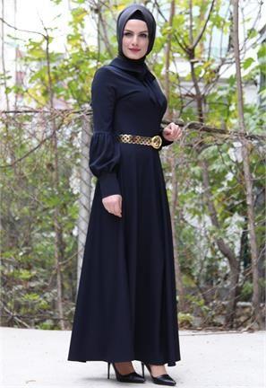 Brn Balon Kol-Broşlu Elbise-Lacivert-6712