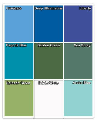"""Oceanic Palette: This palette of blues and greens, created for Pantone by color expert Leatrice Eiseman, is perfect for creating a place of respite and relaxation. """"It is a given that cool tones inspire us,"""" says Eiseman. The palette, named """"Breathe Easy,"""" includes sky blues, watery blue-greens, and a deep-ocean blue, as well as yellow-greens and a blue-purple."""