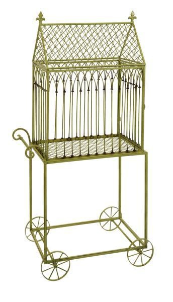 """Varena Birdcage Plant Stand - The Varena Birdcage, with its quaint wheeled cart design, makes a beautiful display of potted plants with cascading foliage. Material: 100% Wrought Iron. 57""""h x 28.25""""w x 16.25""""."""