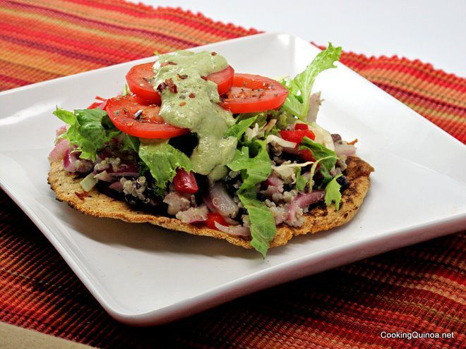 Quinoa Tostadas with Avocado Sauce