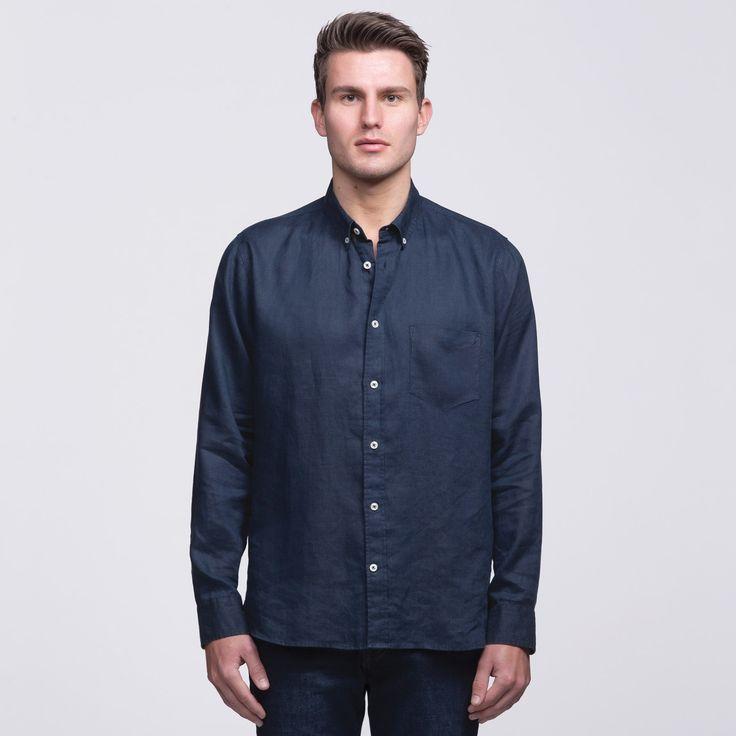 Mens Navy Linen Shirt | smpli - 2 Colours