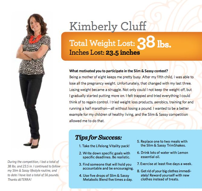 Slim and Sassy Success Story - learn about how the doTERRA essential oil line of products can help you stick to your weight loss plan naturally.