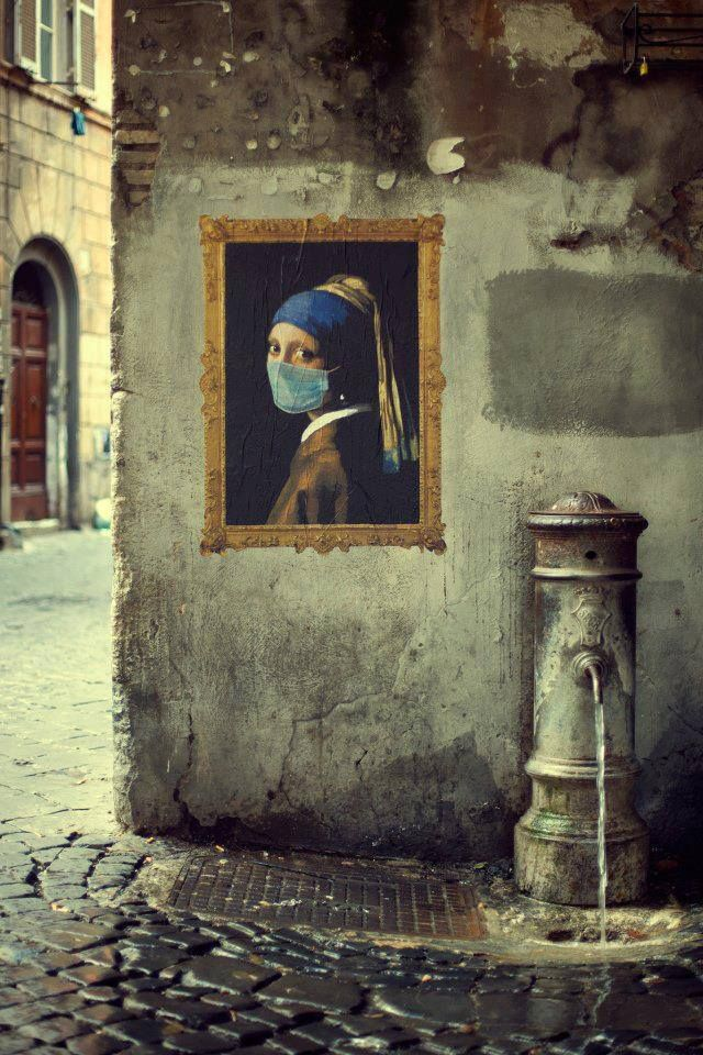 Respirer avant que l'air ne soit irrespirable... / Against smog. / Street art. / Tableau support : Jeune Fille à La Perle de Johannes Vermeer. / By RO.BO.COOP ( Roma Bologna cooperation )