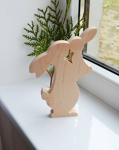 Easter wooden bunny, home Decorations, Holiday rabbir family, banny toy – Rabbit Figurine – Gift Of Wood – Waldorf Animals -ac Eco friendly