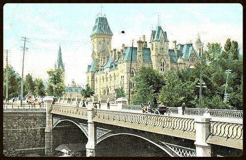 Sappers Bridge 1910 with Parliament behind  Ottawa, ON