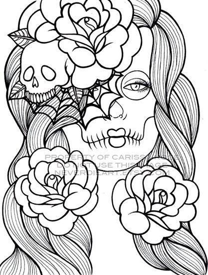 coloring book pages for adults skull