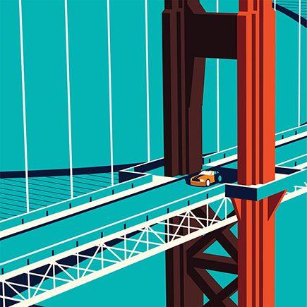 Vector of car on the Golden Gate Bridge