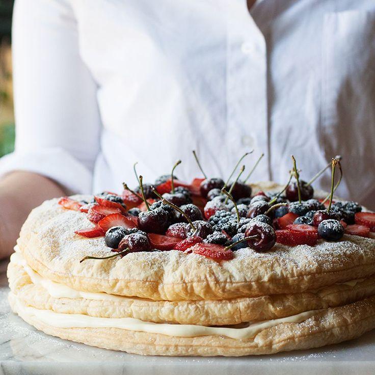 Homemade millefoglie cake, the Italian way, serves a big crowd.