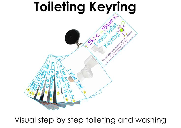 Toileting and washing hands routine visual hand cards on a clip-on expandable keyring. To help those with Autism, language & learning disorders with a toileting routine.