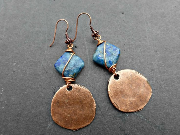 Blue Lapis stone and copper wire wrapped earrings.