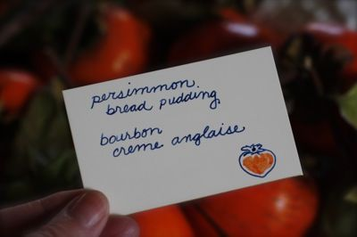 persimmon bread pudding with bourbon cream anglaise