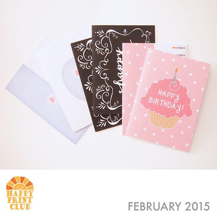 Printable greeting cards on HappyPrintClub.com HPC-2015-feb