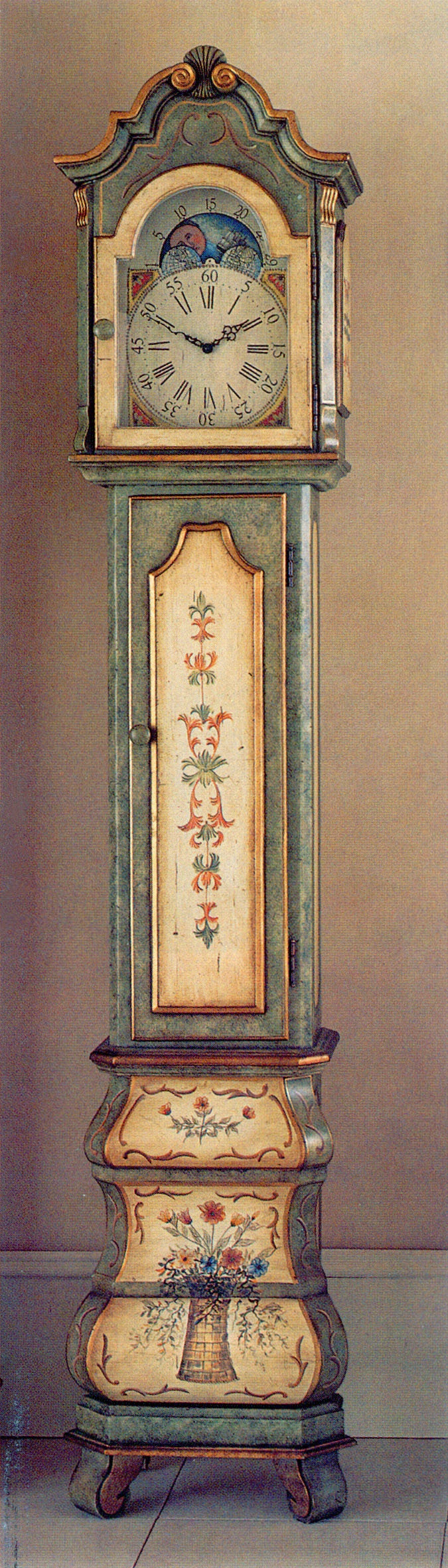 Hand-painted grandfather clock from Horchows, with Florentine motifs