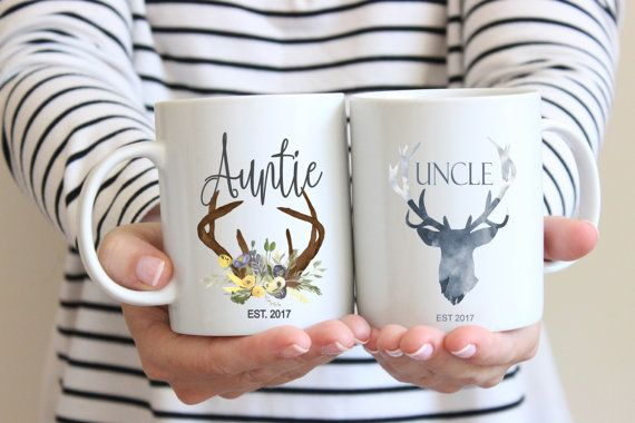 Pregnancy Announcement Mugs, Aunt Mug, Uncle Mug, Mug Set, Auntie Mug, Gift for Aunt, Gift for Uncle, Christmas Gift, Rustic, Woodland Mugs