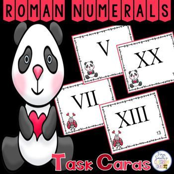 Forty-Eight Roman Numeral Task Cards, Teacher Directions and Two Teacher Answer Keys with a cute Valentine's Day Theme.This Roman Numeral Resource Includes: An EASY VERSION - Twenty-four Roman Numeral Task Cards In Order to Build Confidence for the Roman Numerals 1 to 24. and A CHALLENGING VERSION - Twenty-four Roman Numeral Task Cards In Mixed Order for the Roman Numerals 1 to 24. Two Printable Recording Sheets and Two Teacher Answer Keys.