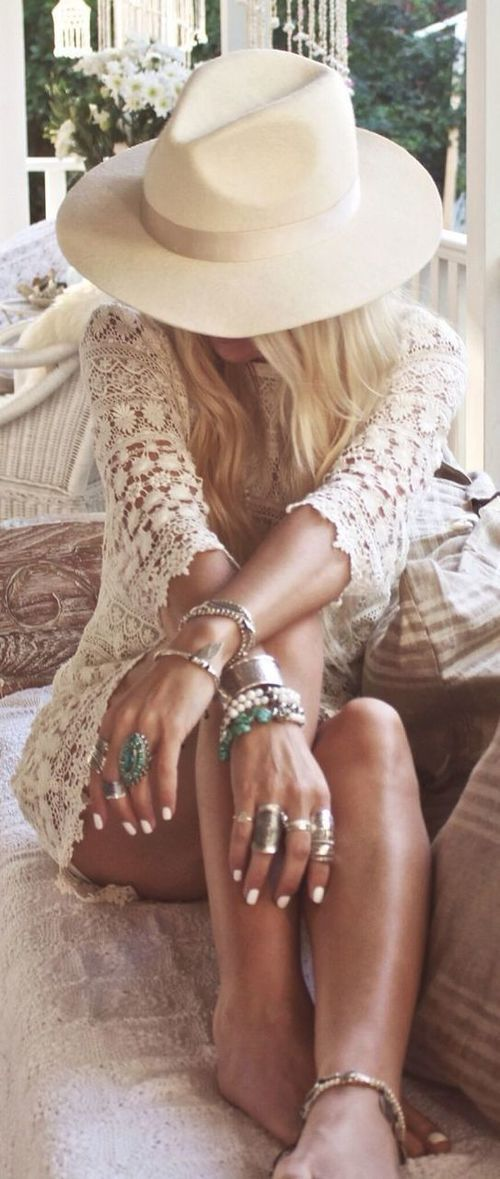 Lace worn like this is lovely.But I really don't like the big, Boho jewelry, or jade, at all.