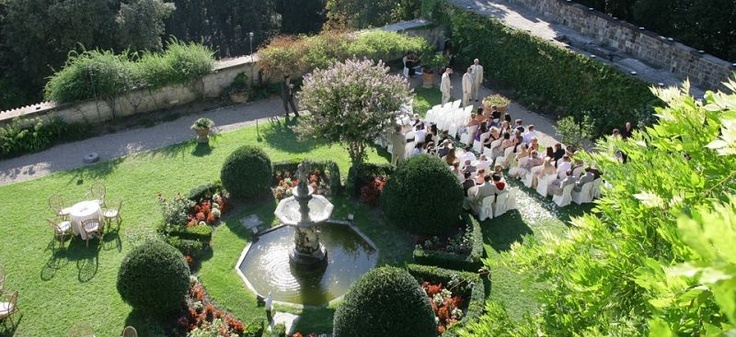 #tuscany wedding castle - Florence Wedding Castle 298 | Tuscan Wedding Location in Florence - different area of the castle's garden used for outdoor celebration