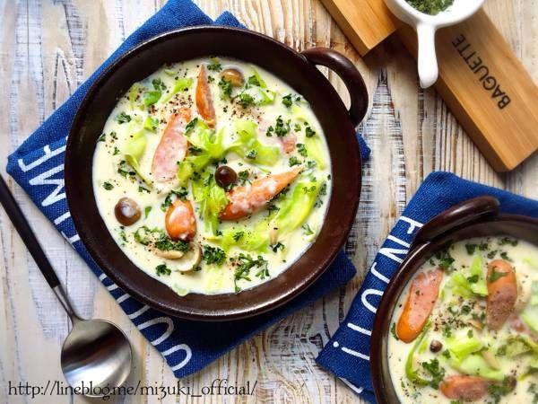 ♡チーズdeこく旨♡ソーセージとキャベツの豆乳スープ♡【#節約#おかずスープ#ヘルシー】 : Mizuki 公式ブログ