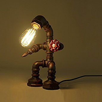 BAYCHEER HL409250 Industrial Retro Style Rust Iron Robot Plumbing Pipe Desk Table Lamp Light with Red Valve Handle and switch 1 light (US version) - - Amazon.com