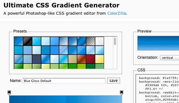 Ultimate CSS Gradient Generator  A powerful Photoshop-like CSS gradient editor from ColorZilla.