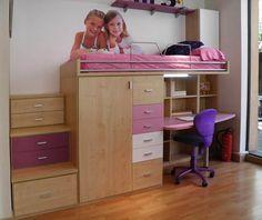 R244 - Juvenil compacto de cama alta con biblioteca, mesa de estudio, pequeño armario y cajonera debajo - Facil Mobel, fábrica de muebles a medida en barcelona, catálogo de armarios, juveniles, salones, dormitorios matrimoniales y complementos. Ofertas y solicitud de presupuestos.
