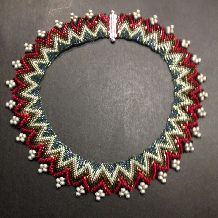 Peyote beaded necklace using pattern from Bead & Button designed by Jimmie Boatright