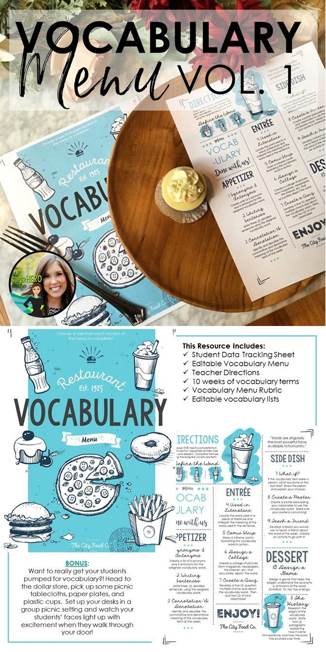 Vocabulary menu | Activities for vocabulary | vocabulary resource | middle school vocabulary | high school vocabulary | Grades 5-12