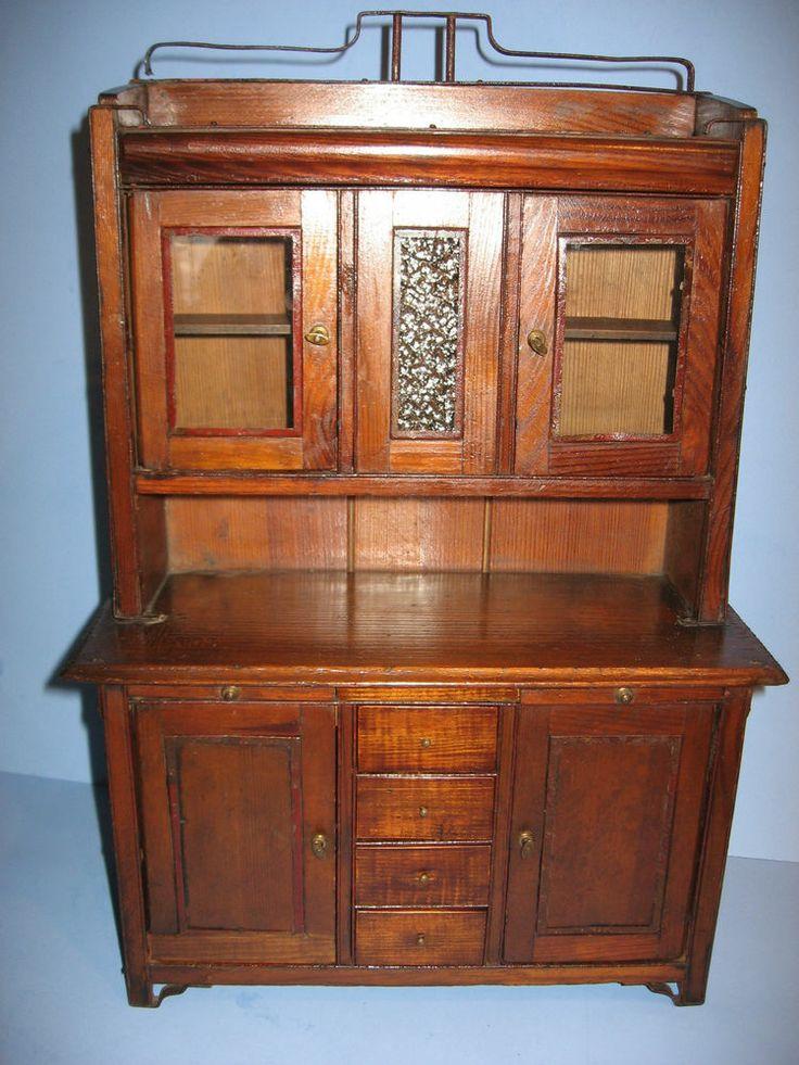 arts craft era salesmans sample miniature cupboard with iron work c1915 - Sample Furniture
