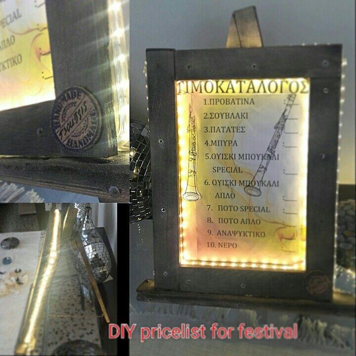 DIY wood pricelist for festival