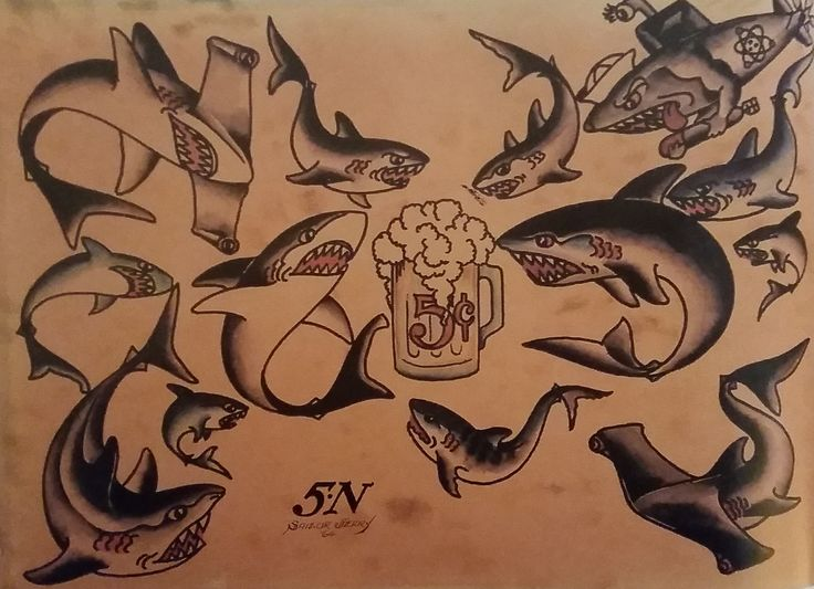 Traditional/old school tattoo, sailor jerry, sharks, beer, nautical, hammerhead