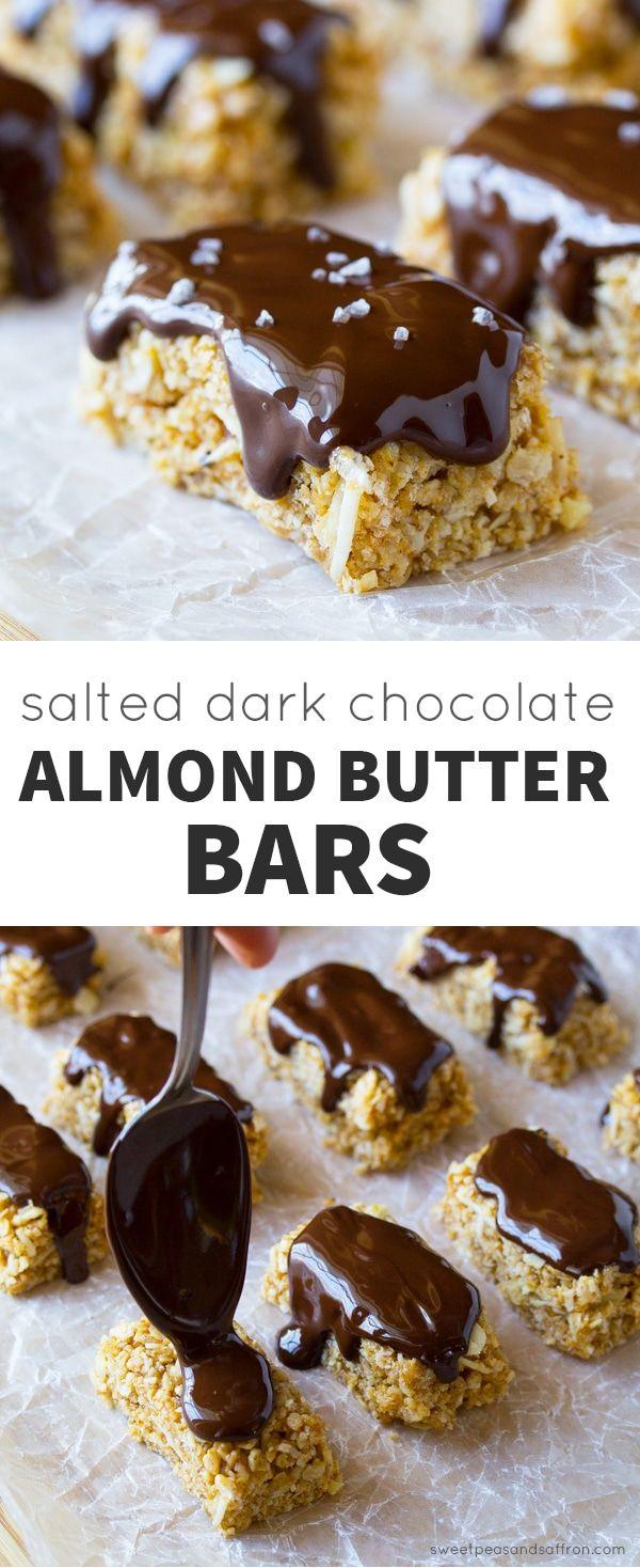 Salted Dark Chocolate Almond Butter Granola Bars (No Bake)