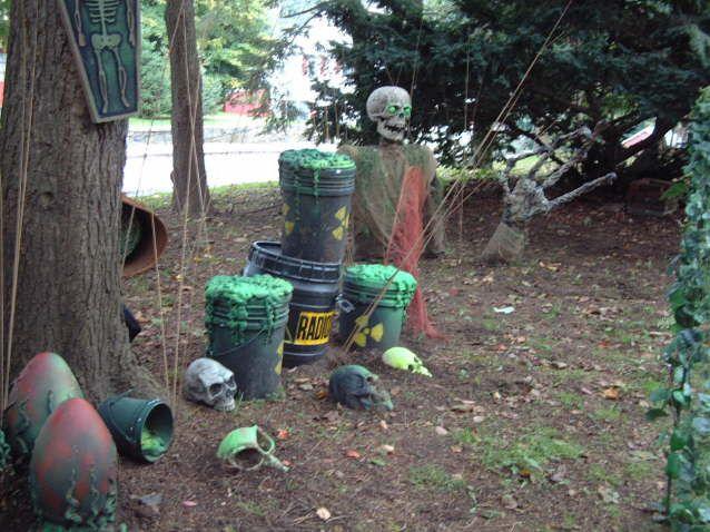Buckets, newspaper, spray foam, spray paint and a blacklight